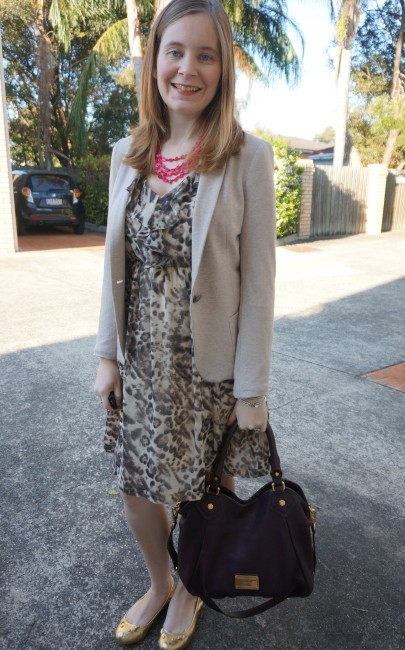 Away From Blue | Frocktober Office Wear Printed ruffle dress blazer MbMJ Fran and mouse flats