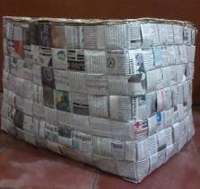 keranjang kotak dari koran bekas