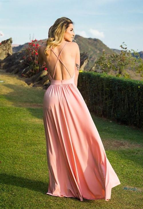 vestido rose longo costas nuas