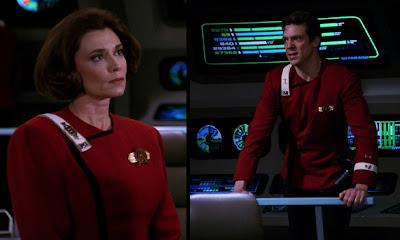 "TWOK-era ""Monster Maroon"" uniforms worn by Enterprise C crew"