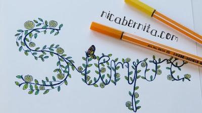 Dibujo de la palabra SIEMPRE. Título decorado con hojas, flores y ramas. Dibujo, doodle. NicaBernita.com