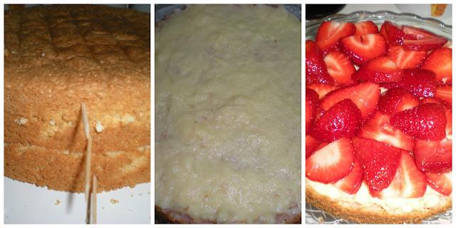 bizcochuelo con fresas, crema pastelera y merengue