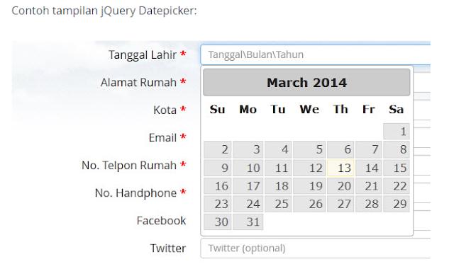 Script Code Program Di sabled Tanggal Kemarin Datepicker di PHP dan Jquery