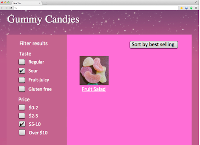 category page for gummy candies in the price range $5-10