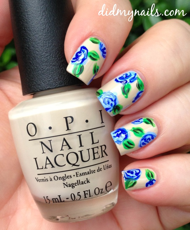 Nail Art Blue Floral: Did My Nails: Blue Flowers On Vain-illa