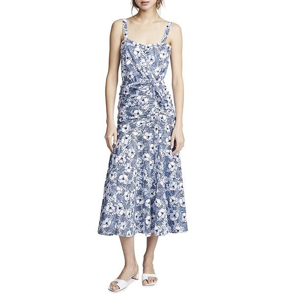 $495 VERONICA BEARD Marena Blue White Straps Ruched Cotton Dress 2 6 8