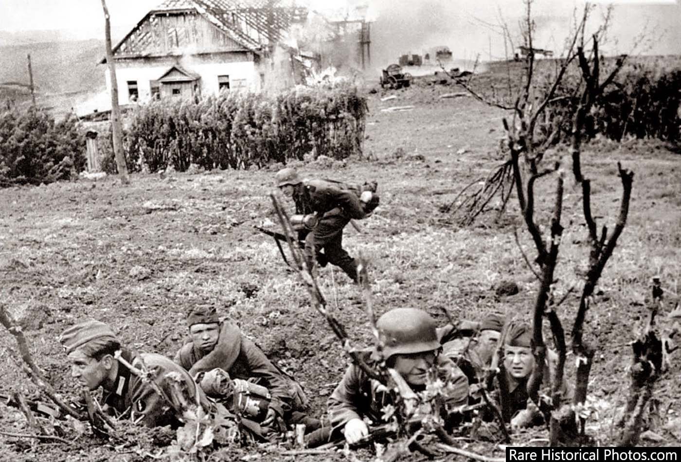 Outskirts of Stalingrad. Germans taking cover.