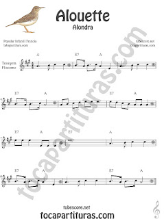 Trompeta y Fliscorno Partitura de Alouette (Alondra) Canción infantil Sheet Music for Trumpet and Flugelhorn Music Scores