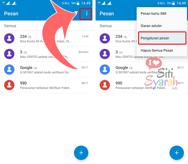 mengaktifkan pengiriman sms di android