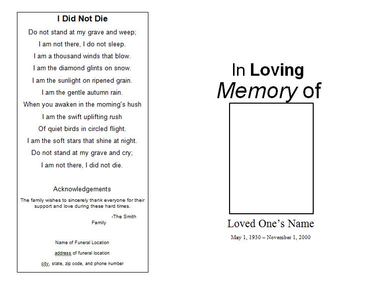 Nice Free Funeral Program Template At FuneralPamphlets.com Pertaining To Free Memorial Template