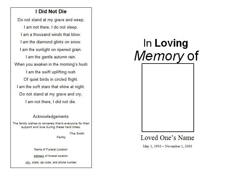Doc540391 Free Funeral Card Templates Memorial Card Template – Funeral Announcements Template