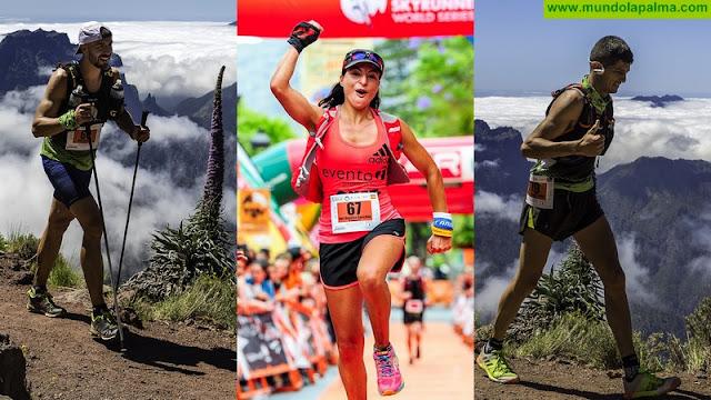 Iván Cáceres (2º palmero Transvulcania 2017), Ana Begoña González (1ª palmera Transvulcania 2017) y Maiker Armas (3º palmero en Transvulcania 2017)