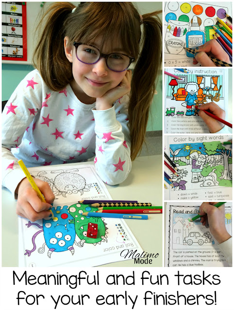 Meaningful and fun tasks for early finishers! Keeping students engaged so everyone can do their work in peace. Find 10 awesome freebie pages in this blog post!