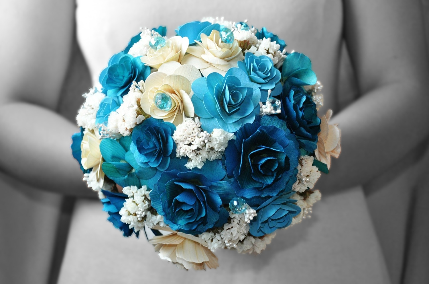 Blue Wedding Bouquets Made Of Wood, Paper, Corn Husk And