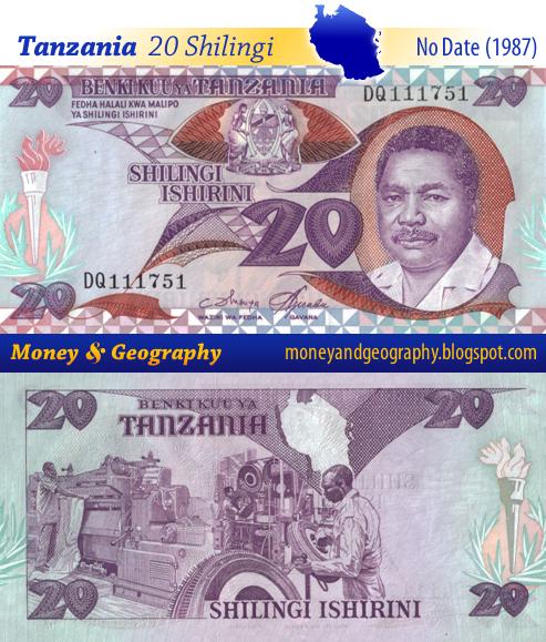 Tanzania 20 Shilling or Shilingi banknote from 1987