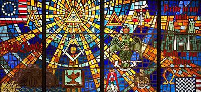 Stained Glass. Supreme Council, 33°. Scottish Rite, NMJ. Lexington, MA