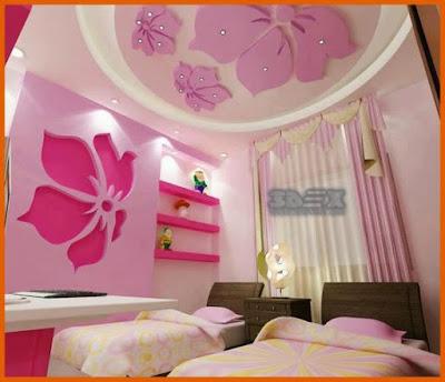gypsum board false ceiling design ideas for girls bedroom