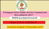 Telangana Public Service Commission Recruitment 2017– 10023 Staff Nurse, School Assistant