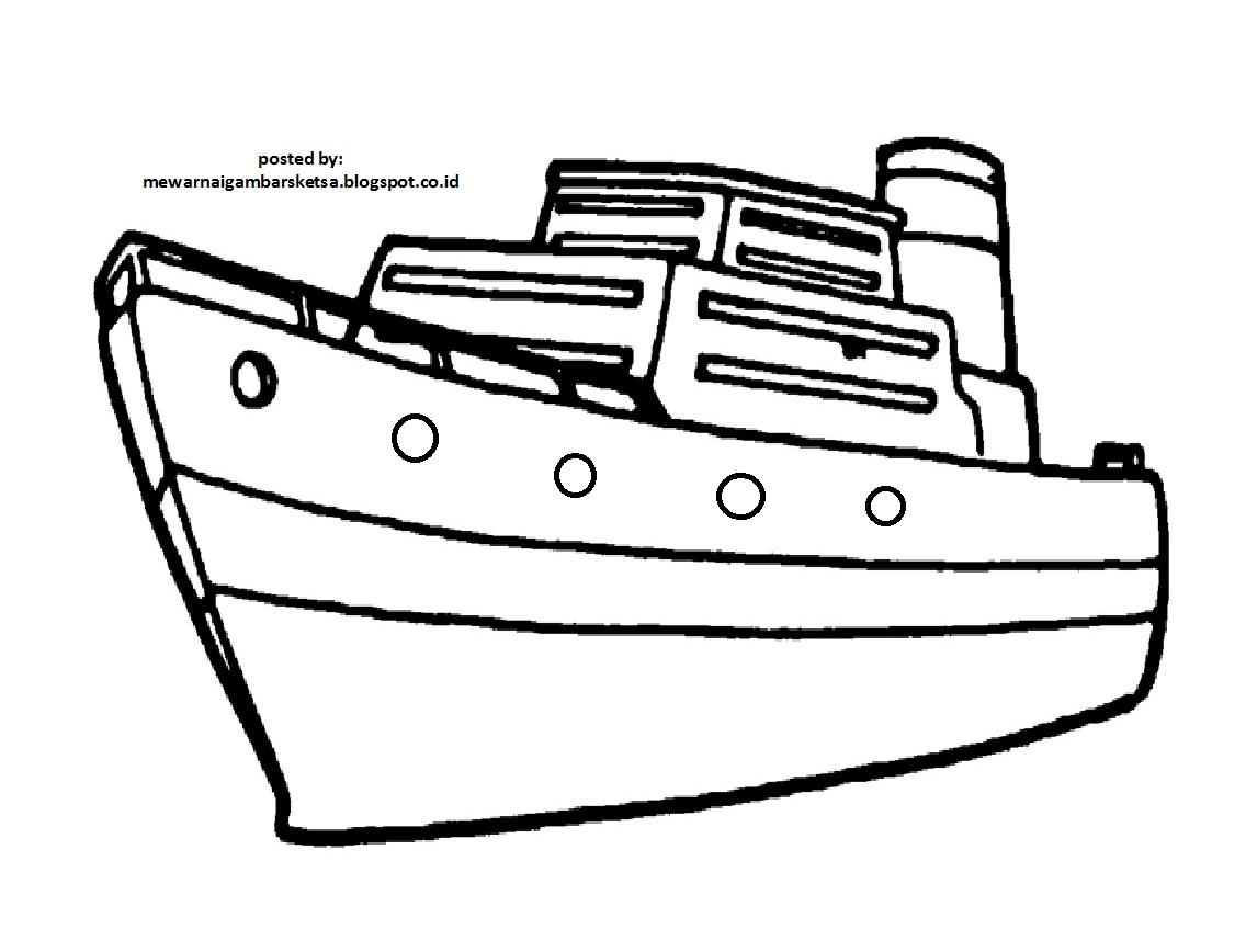 Mewarnai Gambar Mewarnai Gambar Sketsa Kendaraan Kapal 1