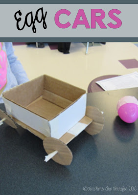 STEM Challenge: Students build a car and experiment with changing the angle of a ramp and then add weight to the car! The weight just happens to be an egg!