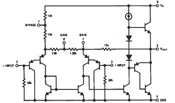 LM386 Audio Amp IC Internal Circuit Diagram - The Circuit