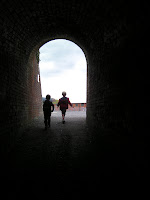 brick-lined tunnel to the caponier and ramparts