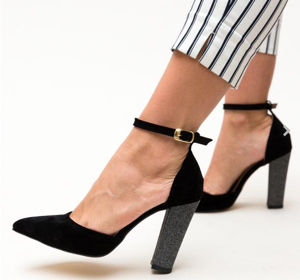 Pantofi dama negri eleganti cu toc inalt gros acoperit cu glitter