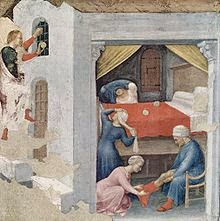 Saint Nicholas, secretly throwing gold, through the window of the three maidens.
