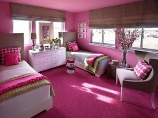 habitación color rosa niña