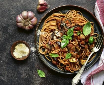 Pasta with eggplant, tomato and mozzarella