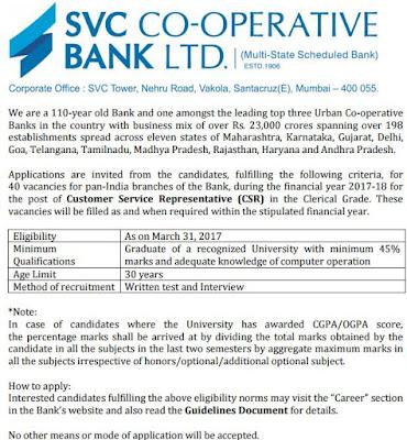 शामराव विट्ठल को-ऑपरेटिव बैंक लिमिटेड SVC Bank Recruitment 2017 (www.svcbank.com) Apply Now