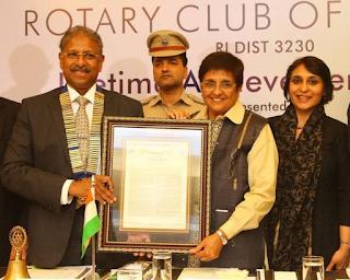 Rotary Club of  Madras Honour for Kiran Bedi