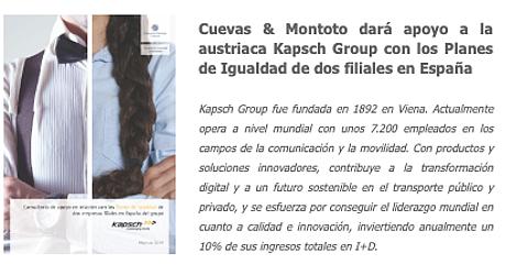 Cuevas & Montoto dará apoyo a Kapsch Group con los Planes de Igualdad de dos de sus filiales en España.