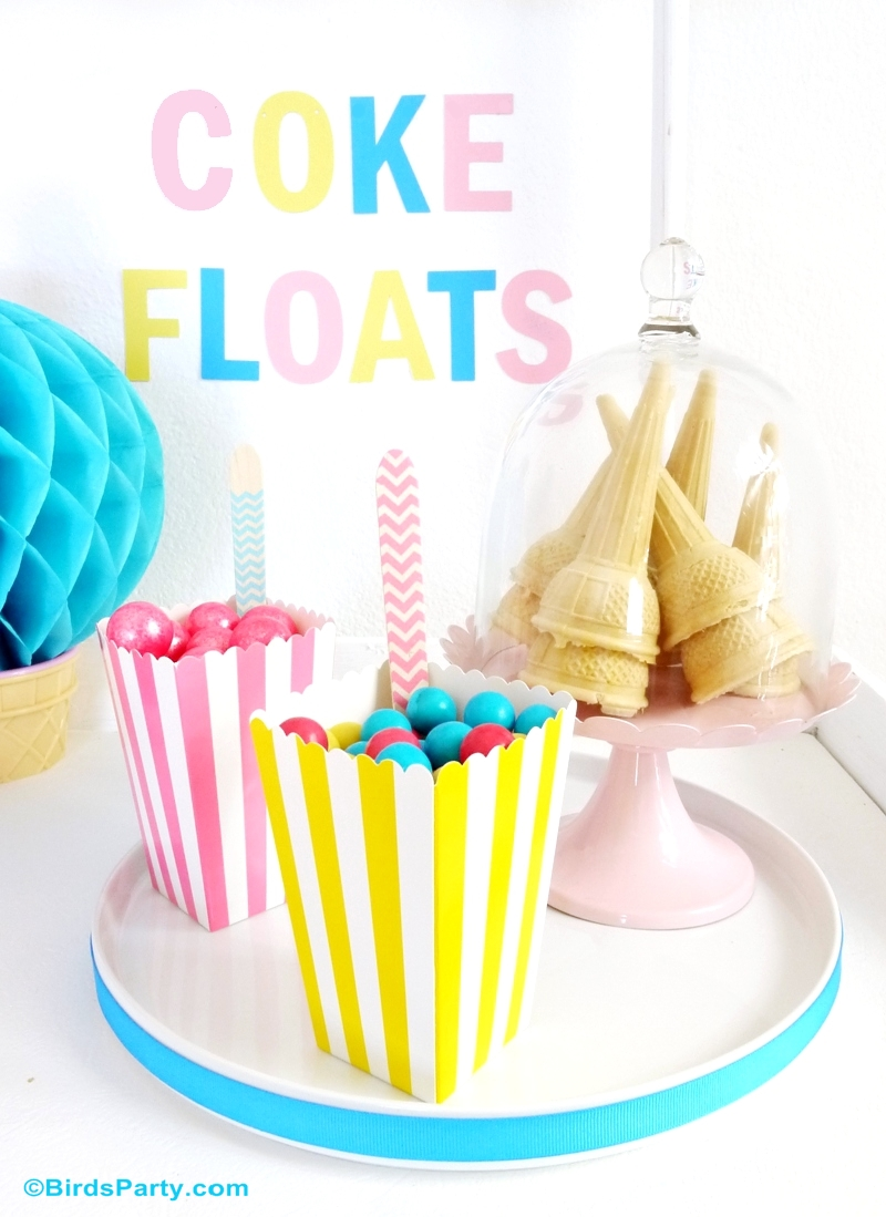 Pool Party Ideas with a DIY Coke Float Station #ShareaCokeContest
