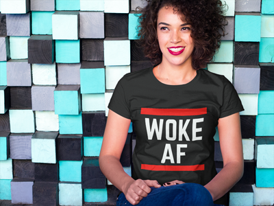 curly haired woman with black Woke AF shirt by Audacity Tees | My Fabulous Boobies