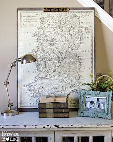 Oversized vintage map wall decor