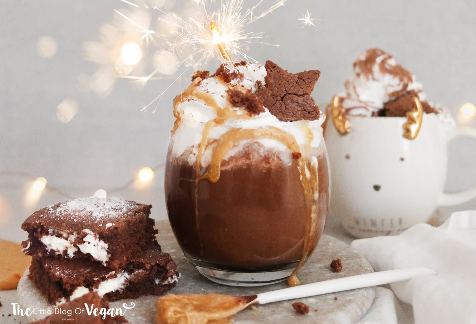 Vegan salted caramel brownie hot chocolate recipe (Starbucks copy cat)