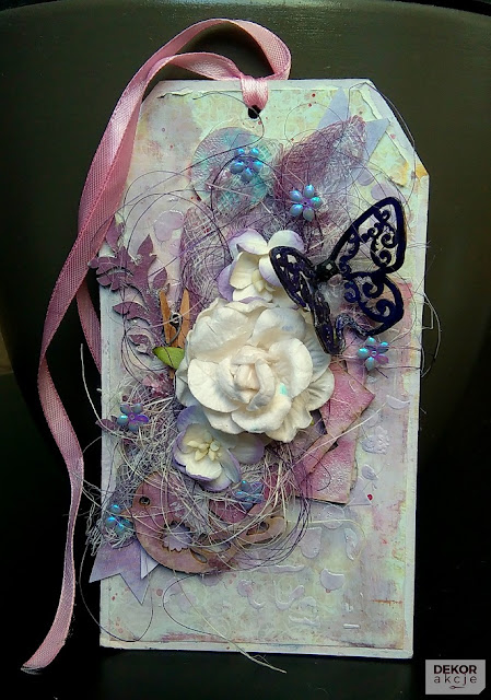 mixed media tag with butterfly