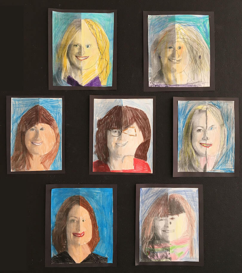 Spring Gallery Art:  Symmetrical Faces by a 4th Grade Class