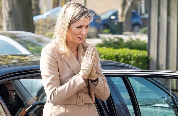 Claes Iversen couture women suits. Queen Maxima wore a camel belted blazer and wide leg trousers by Claes Iversen