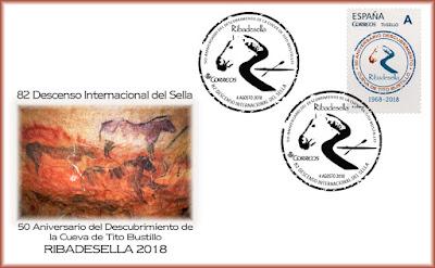 Sobre matasellos 82 descenso del Sella y 50 aniversario del descubrimiento de la Cueva Tito Bustillo