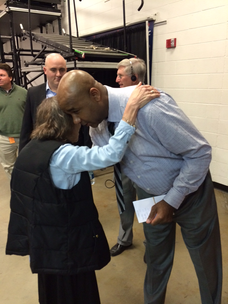 the open door hoyas honor lifelong georgetown fan sr mary louise sr wessell gives coach john thompson iii a hug before the game