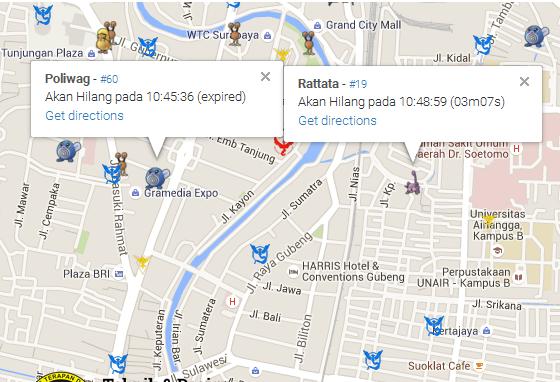 Contoh peta keberadaan pokemon di aplikasi iSTTS Pokemon Spy