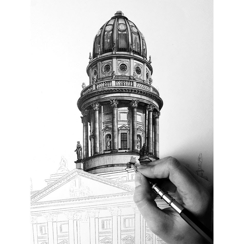 14-German-Cathedral-Berlin-Germany-WIP-Elizabeth-Mishanina-Architecture-Immaculate-Drawing-Technique-www-designstack-co