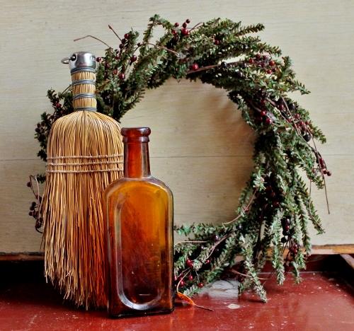wreath, vintage whisk broom, antique amber medicine bottle