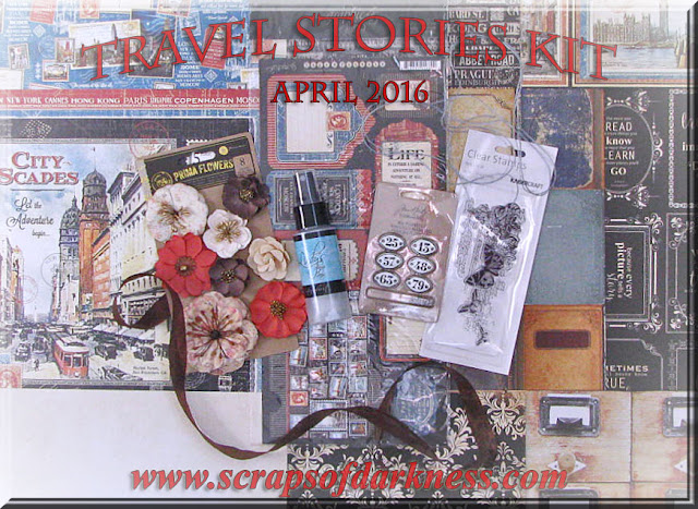 Scraps of Darkness April 2016 Travel Stories scrapbook kit