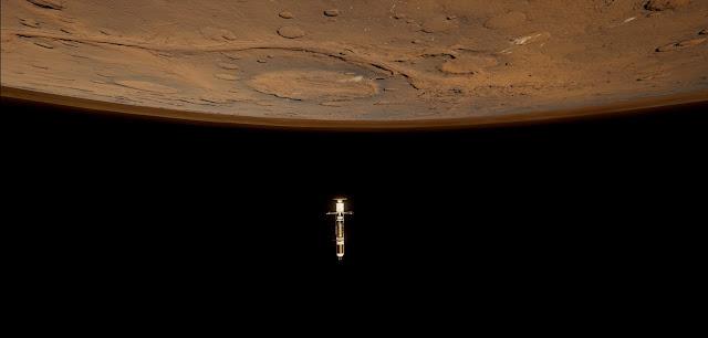 Mars 2030 VR image - spaceship approaching Mars