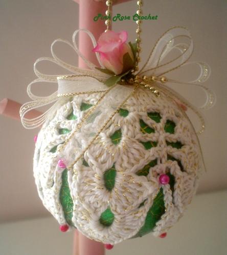 Pink Rose Crochet Bola De Natal Decorada Com Croch 234