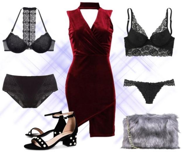 Make people stare kerst blogger outfit fluwelen jurk kanten lingerie parel hakken