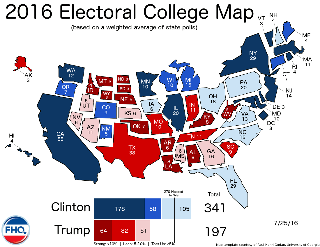 Frontloading Hq The Electoral College Map 7 25 16